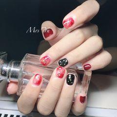 方圆形红色黑色晕染金箔短指甲美甲图片