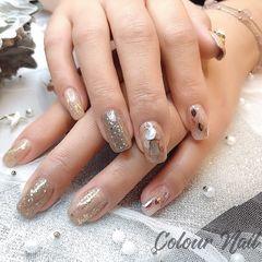棕色日式贝壳片方圆形银色Colour Nail 出品美甲图片