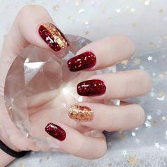 酒红色方形金箔新娘超美的,酒红新娘甲美甲图片