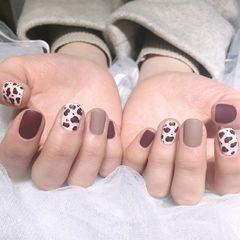 方圆形棕色裸色豹纹磨砂美甲图片