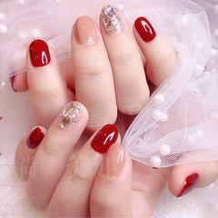 红色酒红色钻日式每天更新客片,春节到了,红色主场美甲图片