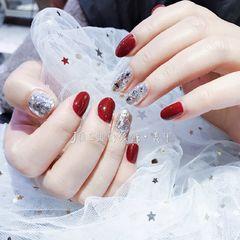 焦糖色红色圆形日式新娘钻新年美甲图片