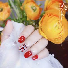 焦糖色红色酒红色方圆形日式手绘豹纹美甲图片