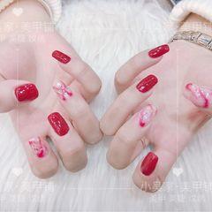 酒红色红色方圆形晕染金箔新娘贝壳片新年美甲图片