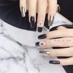 黑色方形日式钻法式简约魔镜粉美甲图片