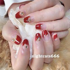 红色方圆形法式钻冬天款新年款美甲图片