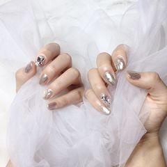 钻圆形银色美甲图片