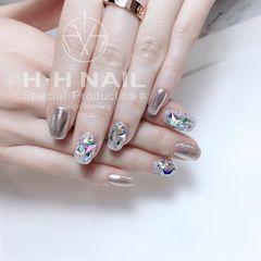 方形钻日式银色美甲图片