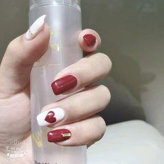 方圆形可爱红色白色心形金属饰品美甲图片
