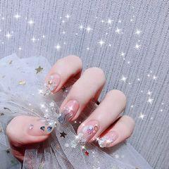 方圆形日式贝壳片新娘钻方形水波纹美甲图片