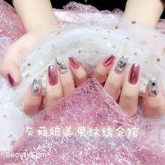 方形钻简约日式新娘镜面金属美甲图片
