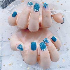 蓝色方圆形贝壳片日式贝壳美甲图片