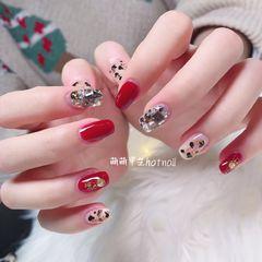 红色方圆形日式豹纹美甲图片