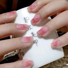 方圆形粉色晕染春天美甲图片