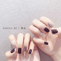 黑色日式简约美甲图片
