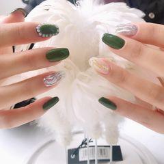 贝壳片草绿色镜面粉水波纹美甲图片