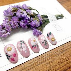 日式手绘圆形粉色白色花朵春天美甲图片