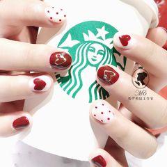 圆形红色白色心形波点短指甲美甲图片