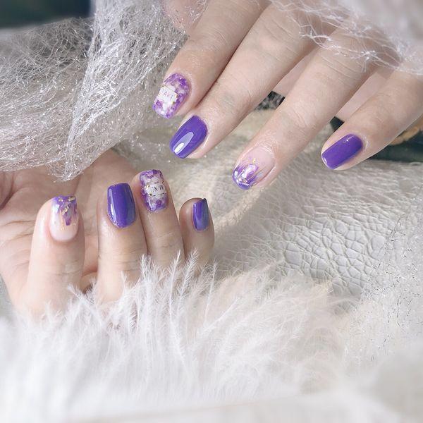 方圆形金箔渐变贝壳片棉花糖粉紫色贴纸美甲图片