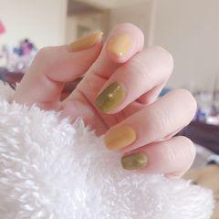 绿色方圆形简约黄色美甲图片