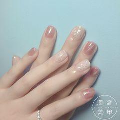 日式方圆形粉色猫眼上班族简约粉嫩款式美甲图片