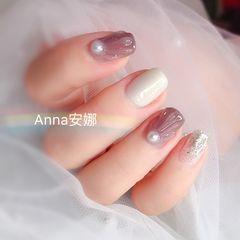 方圆形粉色白色珍珠贝壳美甲图片