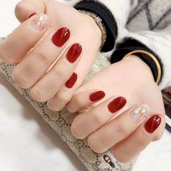 红色圆形猫眼贝壳片显白新娘美甲图片