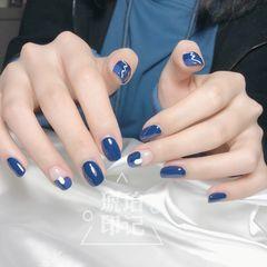 蓝色方圆形日式手绘法式美甲图片