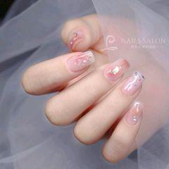方圆形日式贝壳片晕染钻粉色腮红甲美甲图片