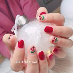 红色圆形钻可爱樱桃美甲图片