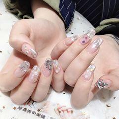 方圆形钻新娘贝壳片美甲图片