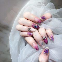 尖形紫色晕染贝壳片金箔钻日式美甲图片