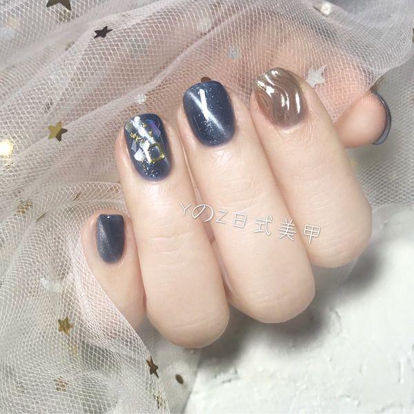 蓝色方圆形猫眼金箔简约日式水波纹贝壳片美甲图片