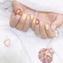 橙色黄色方圆形夏天手绘波点炫雅美甲图片