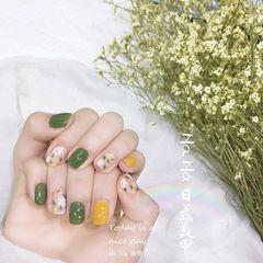 黄色绿色方圆形手绘春天树叶夏天美甲图片