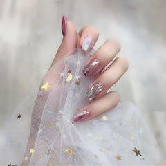 方圆形水波纹粉色魔镜粉+银色魔镜粉少女心美甲图片