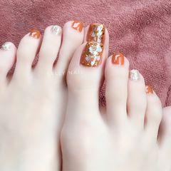 方形夏天脚贝壳片金箔美甲图片