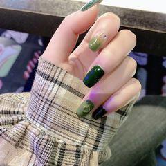 绿色方形夏天简约渐变美甲图片