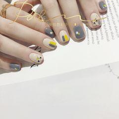 方形短指甲手绘灰色黄色猫咪可爱美甲图片