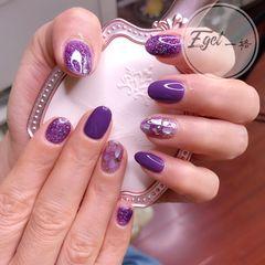 圆形夏天金箔贝壳片紫色美甲图片