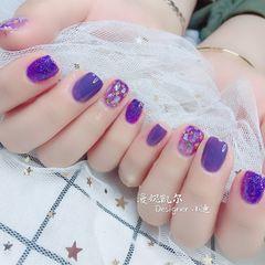 方圆形夏天贝壳片紫色美甲图片