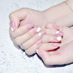 夏天简约粉色方圆形黄色手绘鸡蛋美甲图片