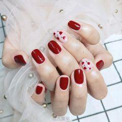 红色方圆形夏天花朵手绘美美哒👻👻👻美甲图片