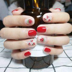 红色圆形夏天水果简约手绘🍓🍒美甲图片