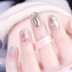 方圆形日式银色贝壳片水波纹美甲图片