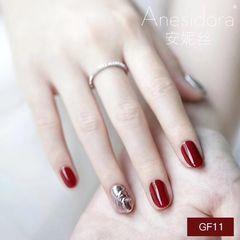 红色水波纹圆形银色显白喜欢这款么 ? 显白呀显白好看美甲图片