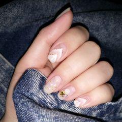 方圆形白色手绘晕染夏天珍珠贝壳片白色  珍珠  手绘  贝壳美甲图片