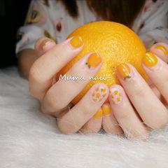 水果短指甲黄色橙色圆形手绘圆法式夏天夏日里的小橘子🍊 🍊 🍊 元气满满的小可爱(๑• . •๑)美甲图片