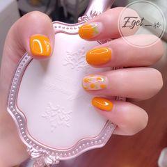 橙色方圆形夏天水果可爱小清新手绘美甲图片