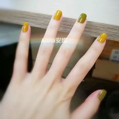 黄色方圆形绿色跳色夏天美甲图片